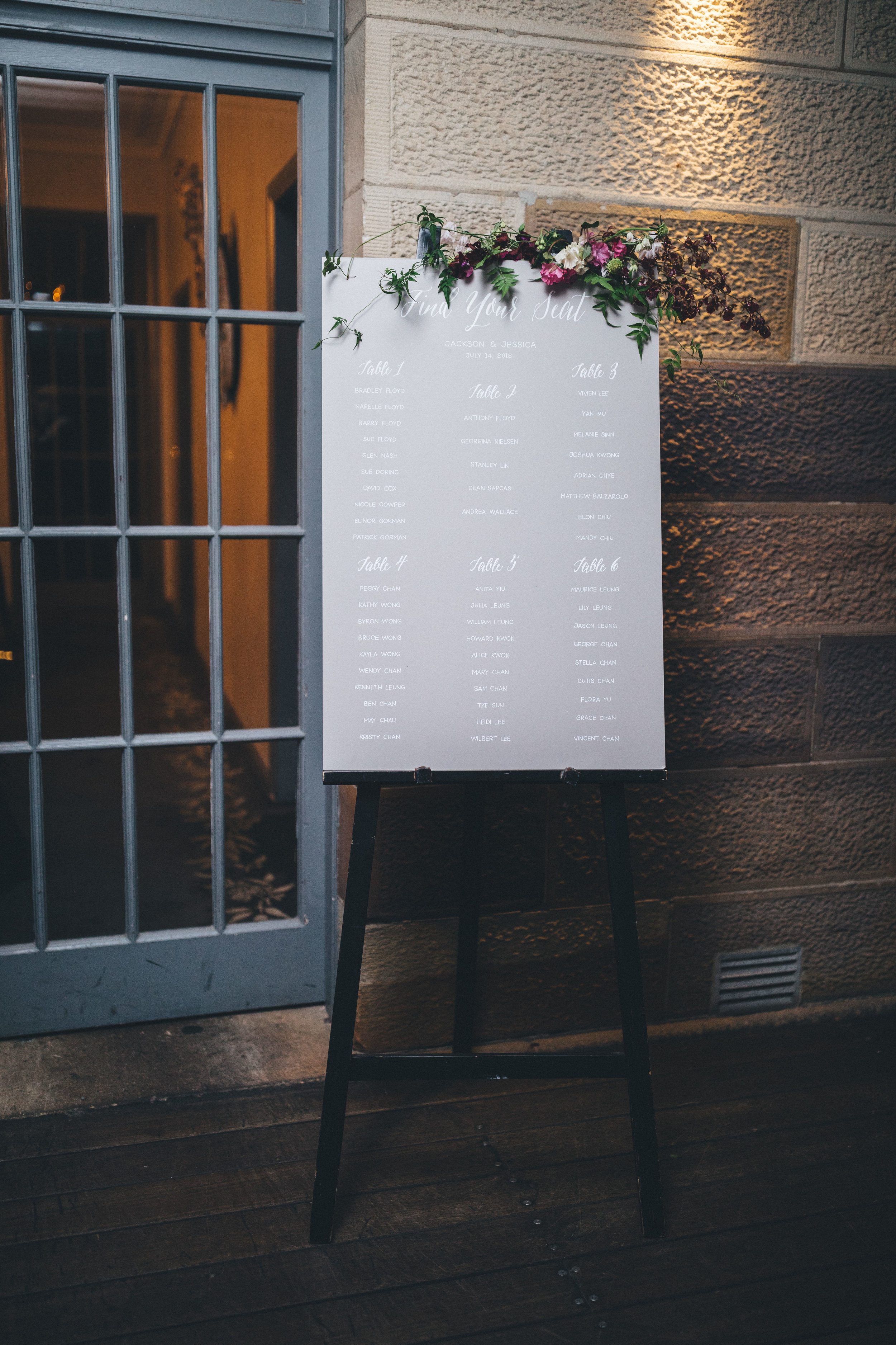 Seating chart - When guests arrive at your reception entrance, the seating chart is what will help guide them to their allocated seat. We usually have this custom made to match the welcome sign, and decorated with florals.