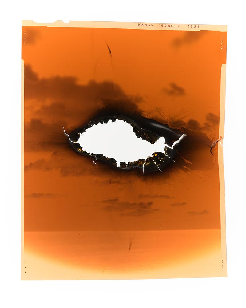 """Apparition III  2/8  Original 4x5"""" color negative in backlit frame  Burnt  10,1 x 12,7 cm  2011/2018"""