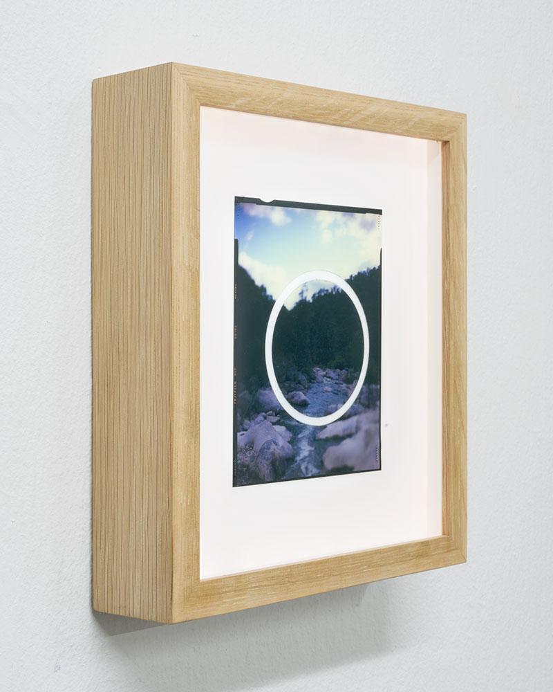 "Side view  Apparition I  AP  Original 4x5"" slide in backlit frame  Lasercut  10,1 x 12,7 cm  2006/2018"