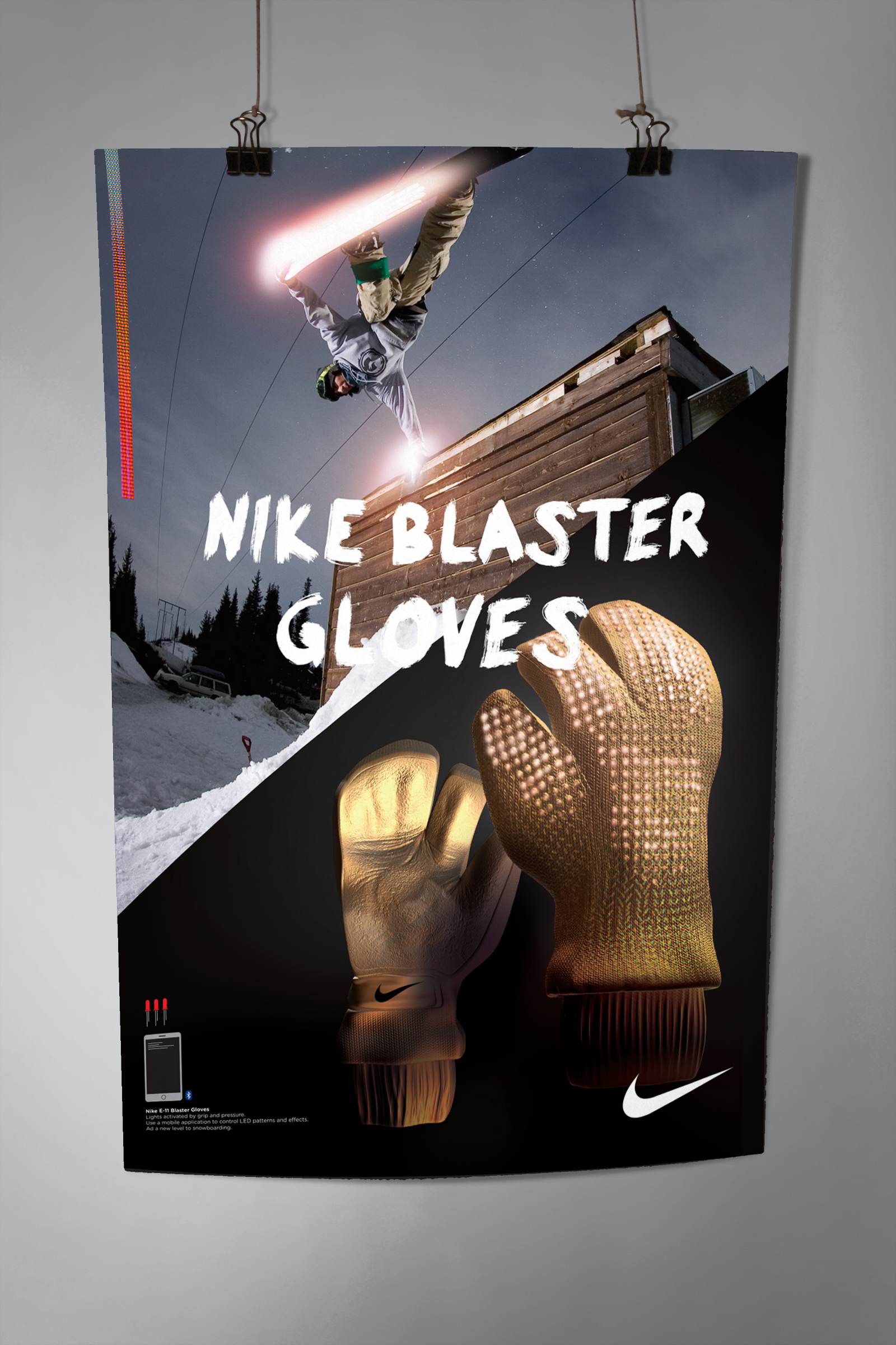NIke E-11 Blaster gloves with lights activated by a grip or pressure. Programmable LEDs that wirelessly can be updated using an application. Adding a new level to snowboarding.