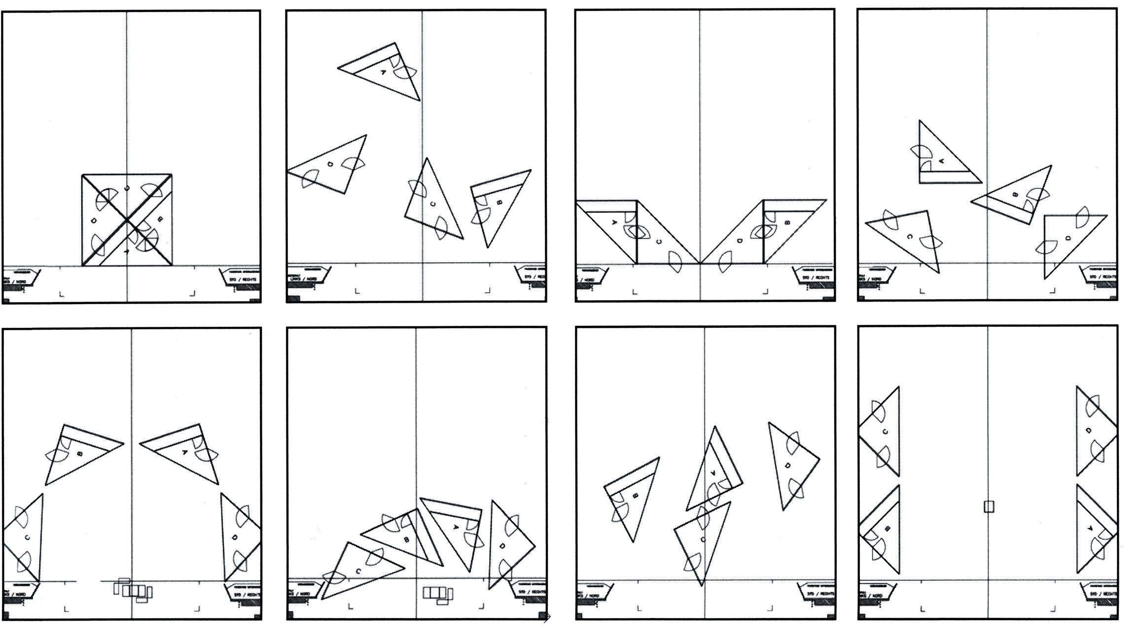 [[Grundriss der Bühne mit den 4 Prismen///Floor plan of the stage with the 4 prisms]]