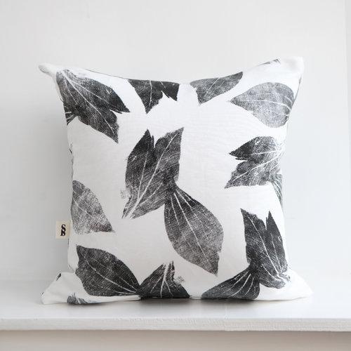 Peony Leaves Cushion - Charcoal