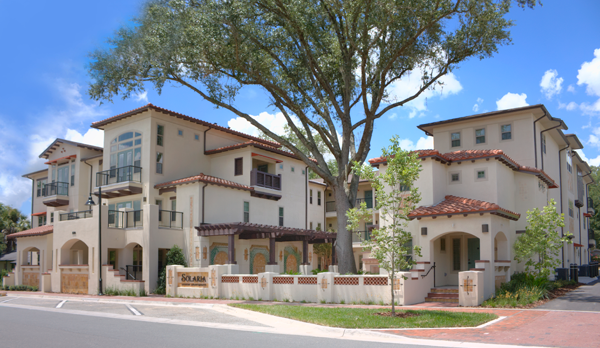 Solaria II - Solaria II is a three-story, 15-unit complex designed to pay homage to the California's Mission style of architecture known for utilizing the rich, earthy materials of stucco, barrel tile and heavy wooden timbers to create a sense of sanctuary-like refuge.
