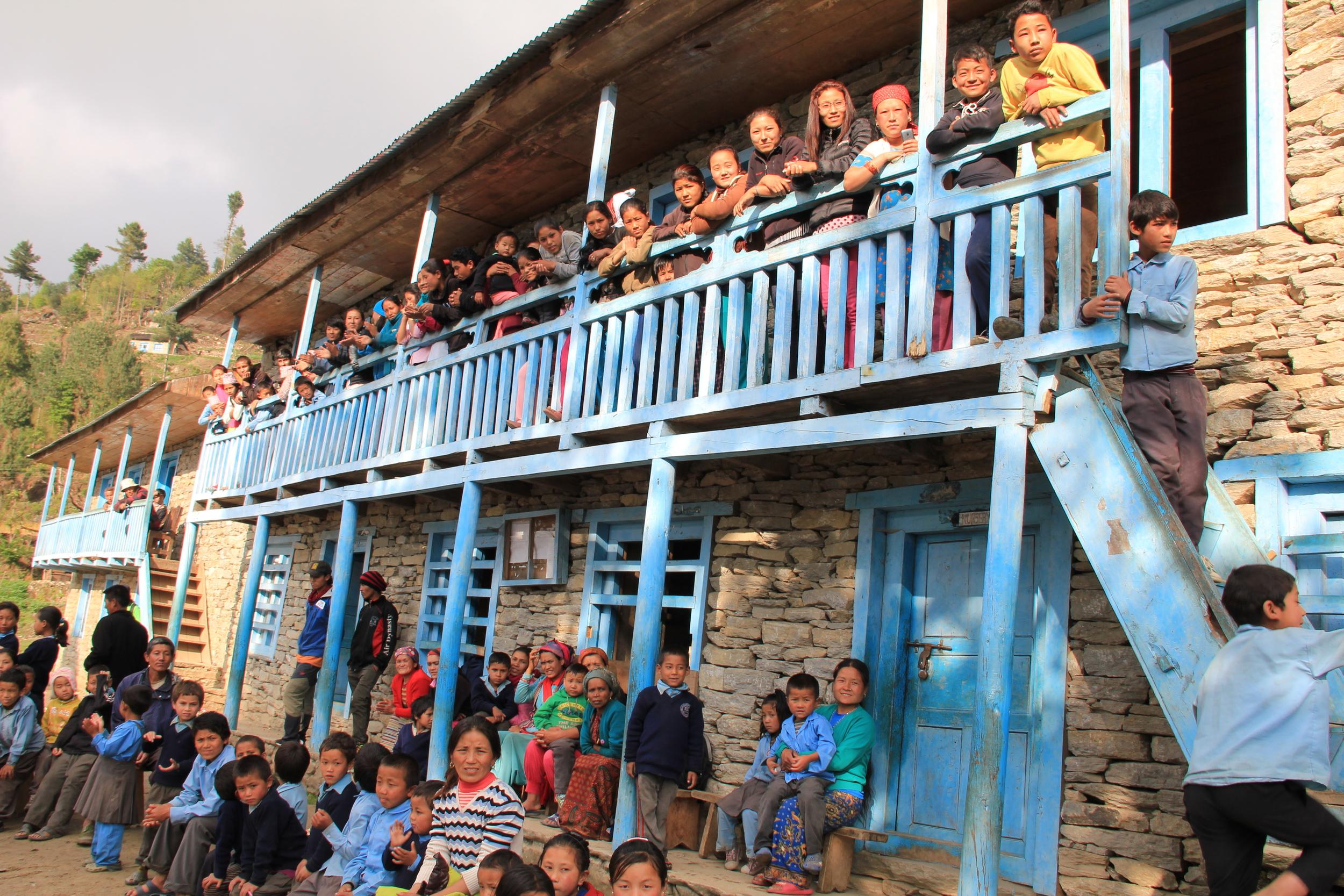 Village kids in front of their school