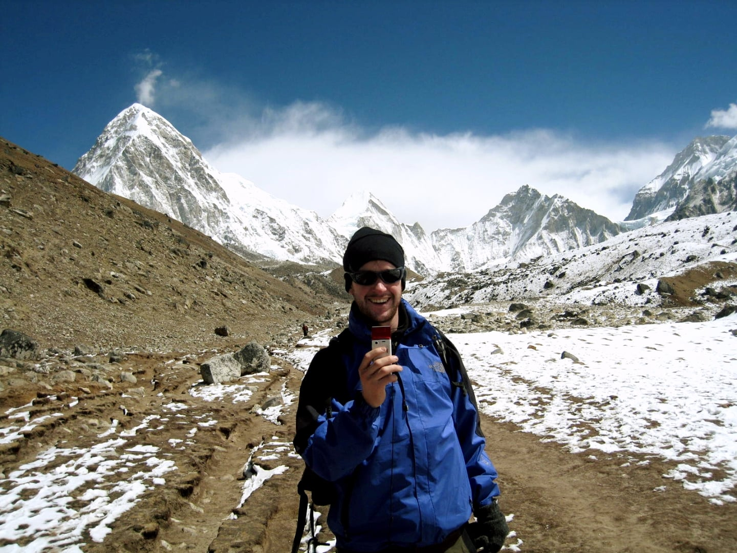Near the head of the Khumbu valley with Pumori on left and Everest west shoulder.
