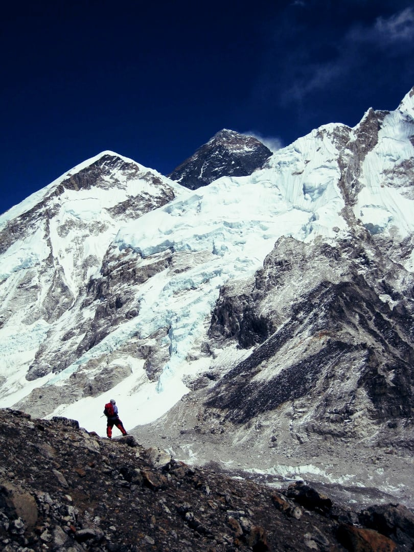 Near Everest base camp with the summit just visible.