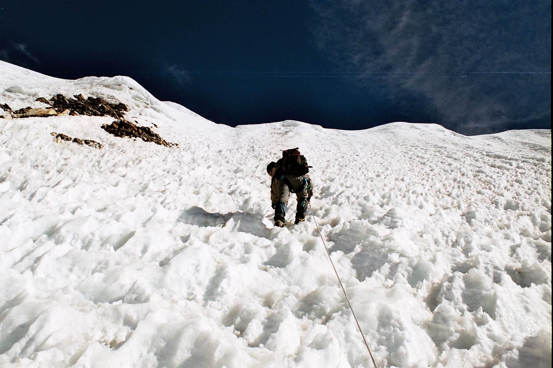 Climbing the headwall of Island Peak