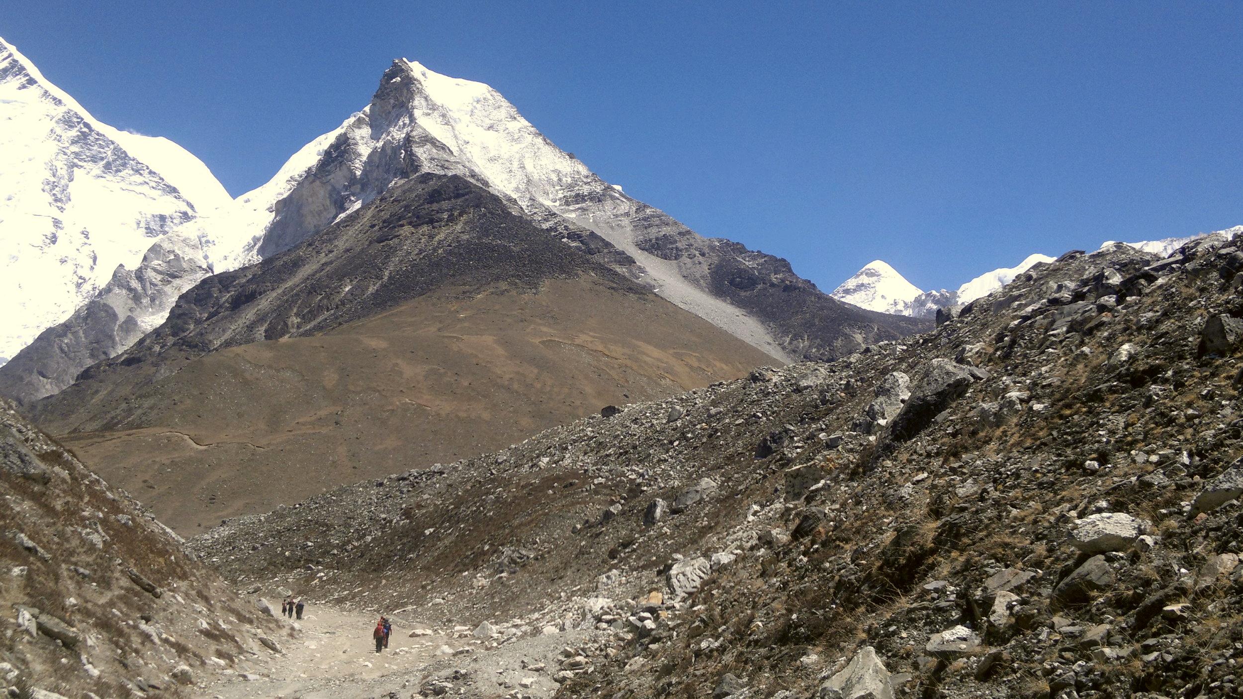 Trekking to Island Peak with its visible ridge