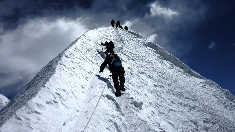 Reaching the summit of Island Peak