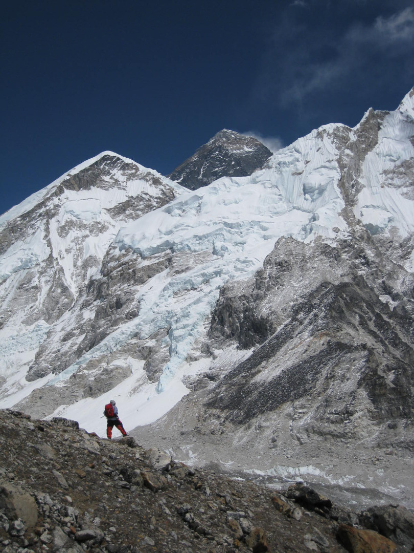 Standing below Everest on the base camp trail