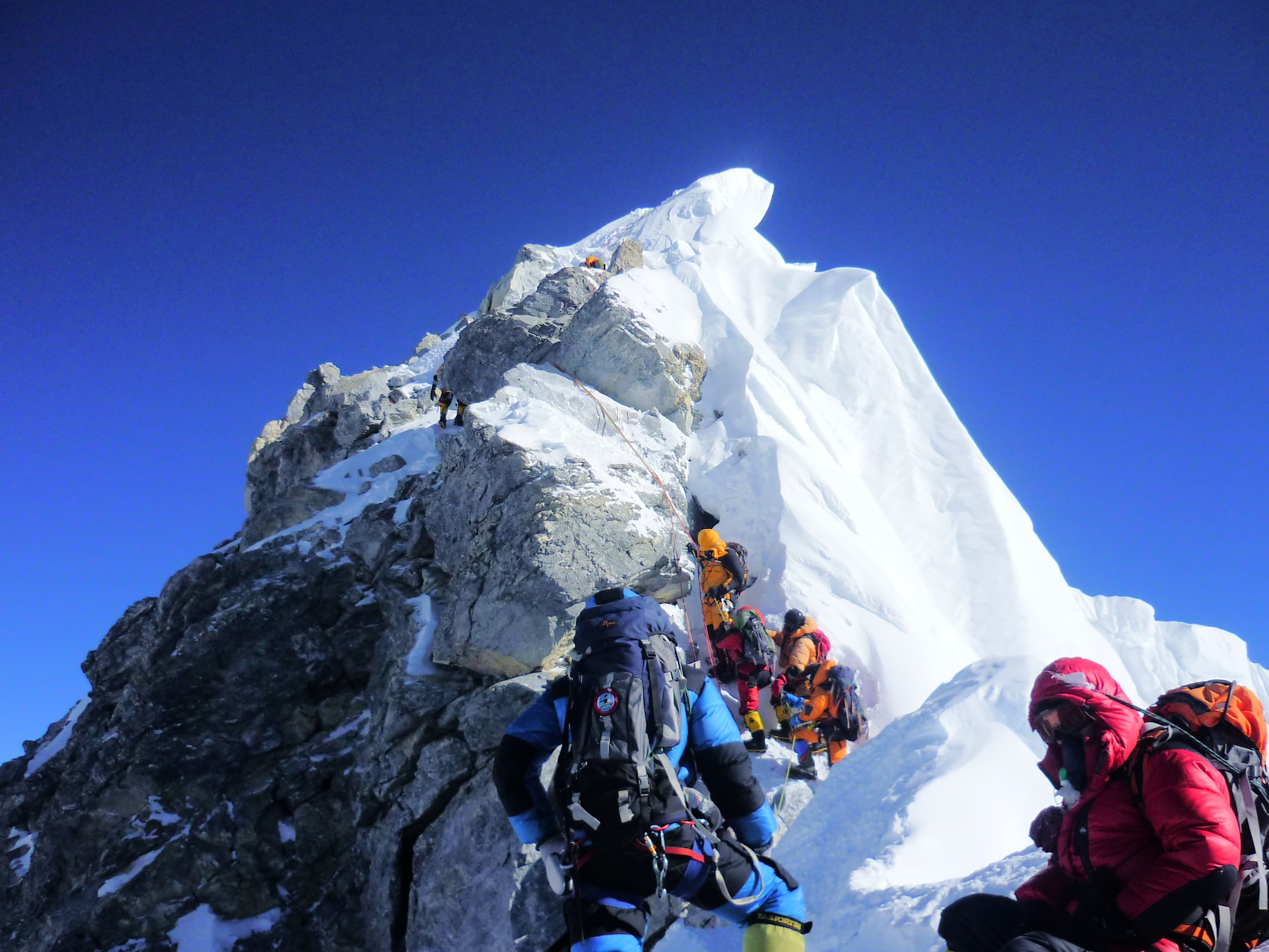 Waiting on line for the Hillary Step - Mount Everest