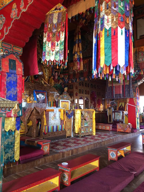 Decorating flags inside a monastery