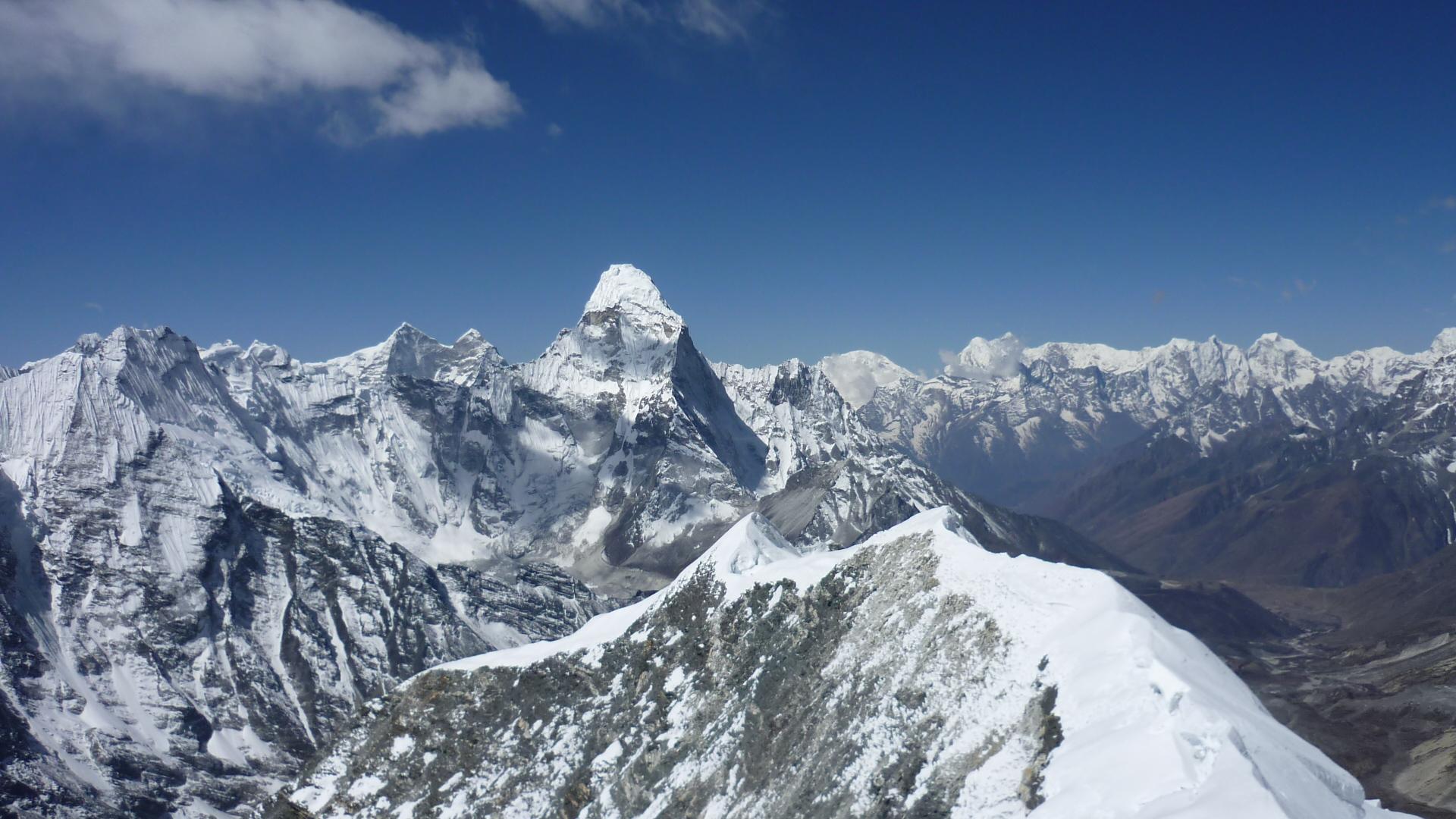 Summit of Island Peak with Amadablam in background