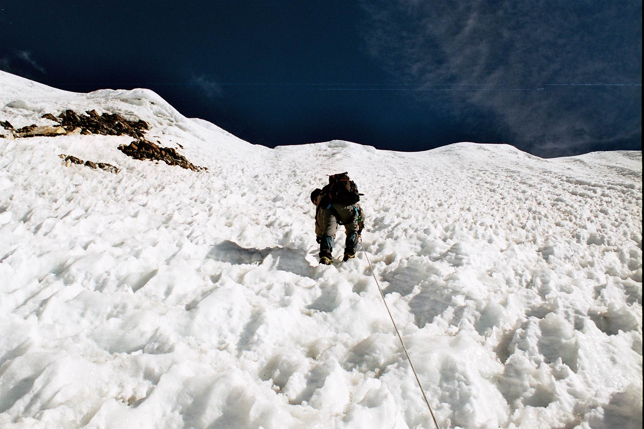 The final 350m Ice wall before reaching the summit