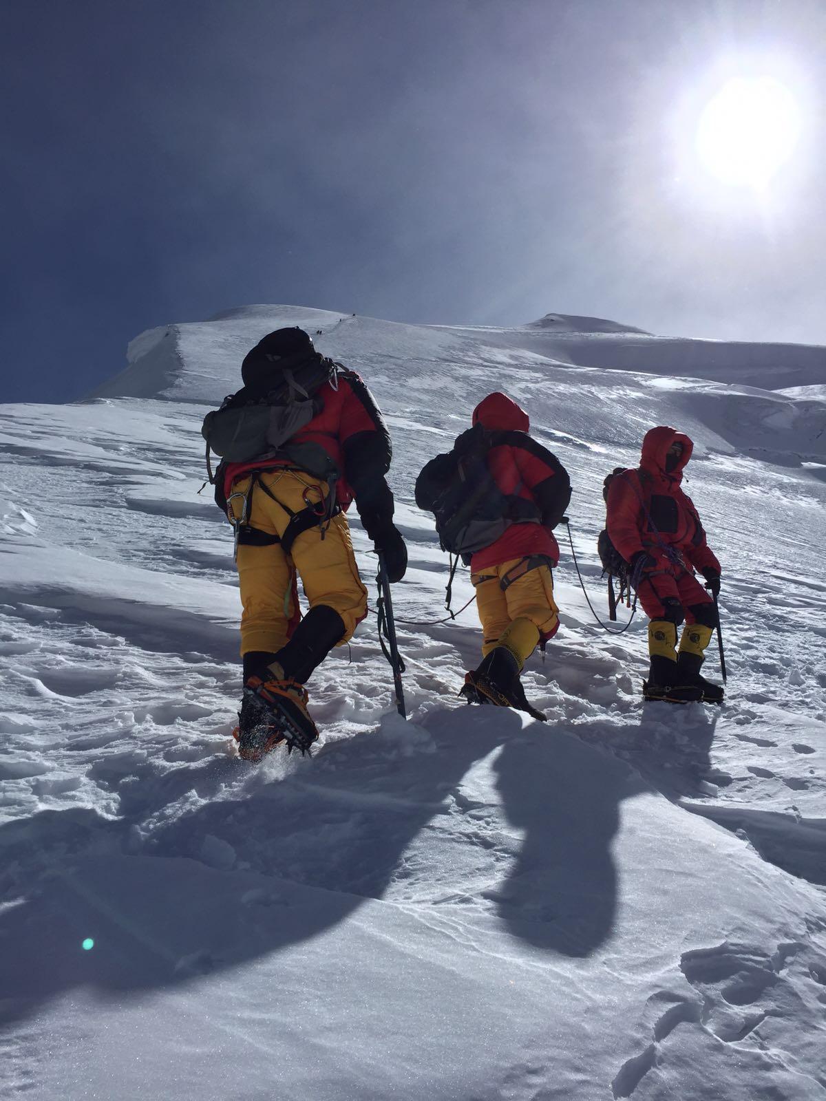 Our team climbing - Himlung Himal