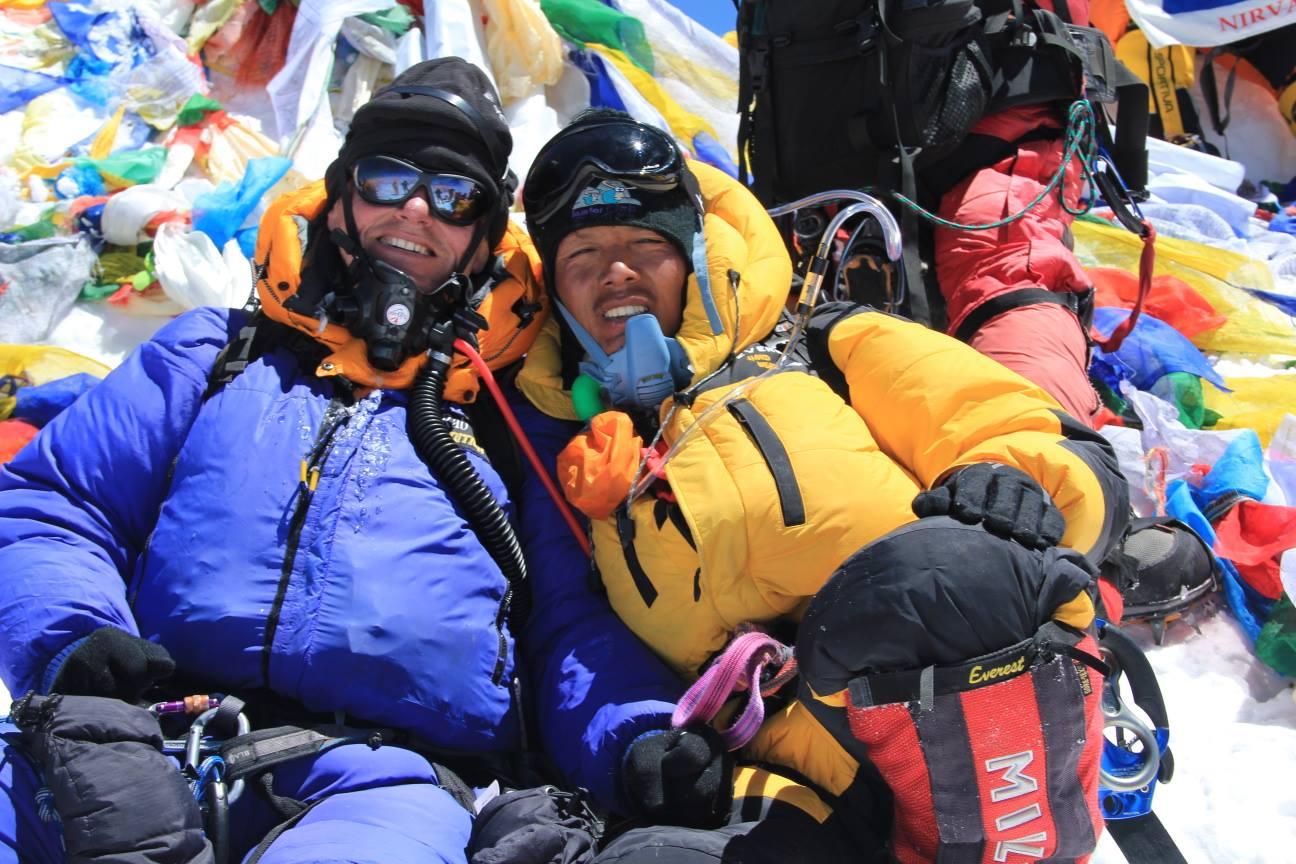 Gavin and Pasang on top of Mount Everest in 2011
