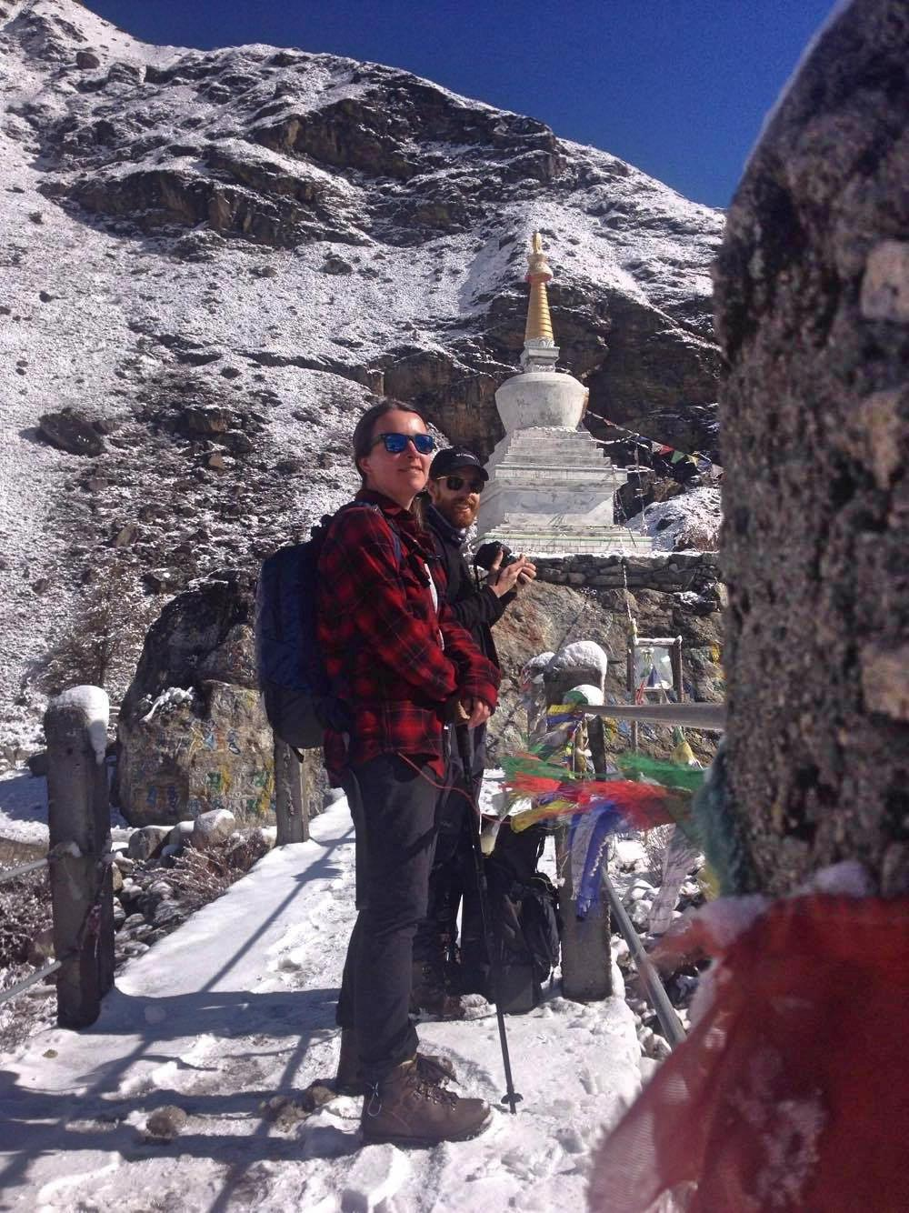 One of our client having a break at the bottom of a mountain - Langtang Valley Trek