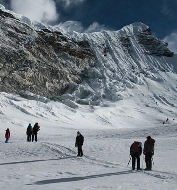 On the way to climb one of the Khumbu Three Peaks' peaks