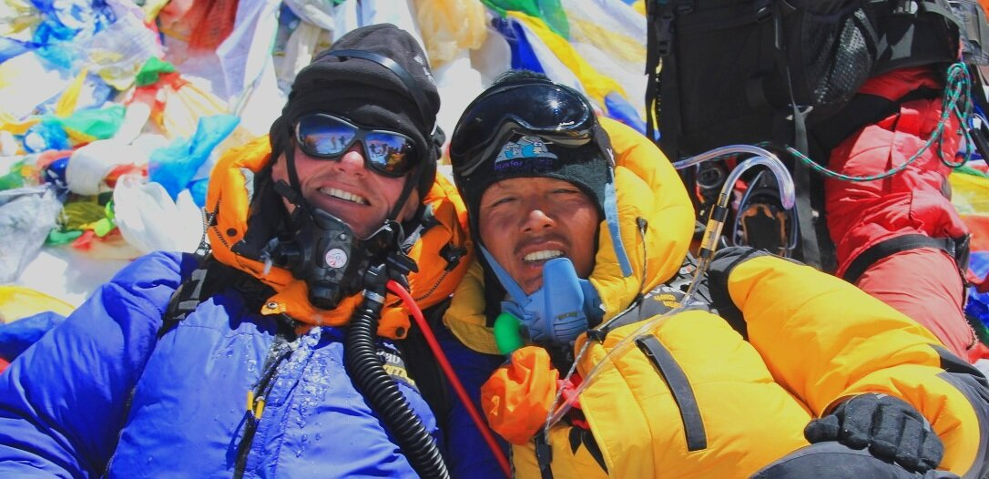 Gavin Bate, founder of Adventure Alternative and Pasang Tendi Sherpa, Director of Adventure Alternative Nepal on top of Mount Everest in 2011.