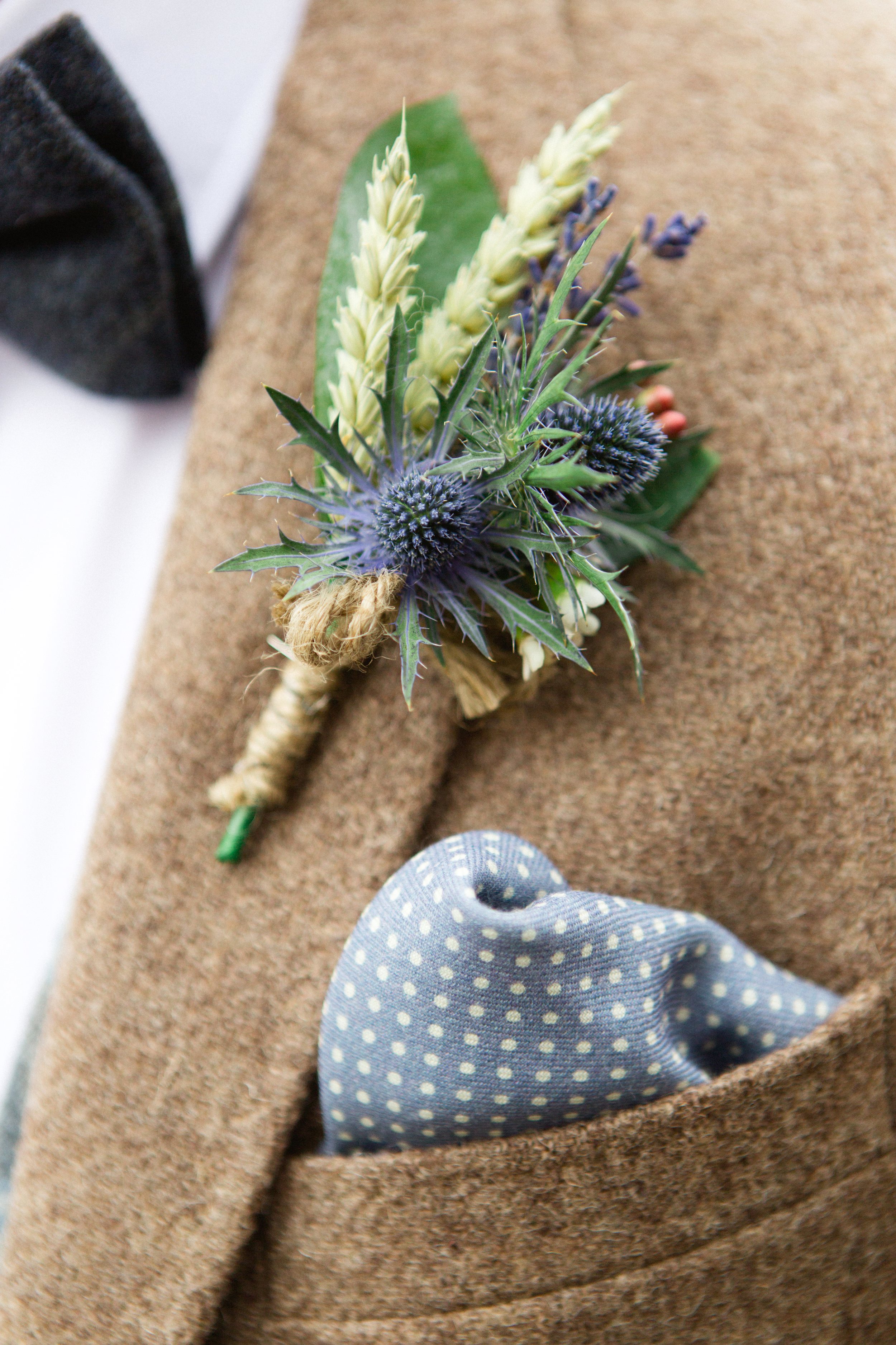 Wheat, lavender and thistle buttonhole