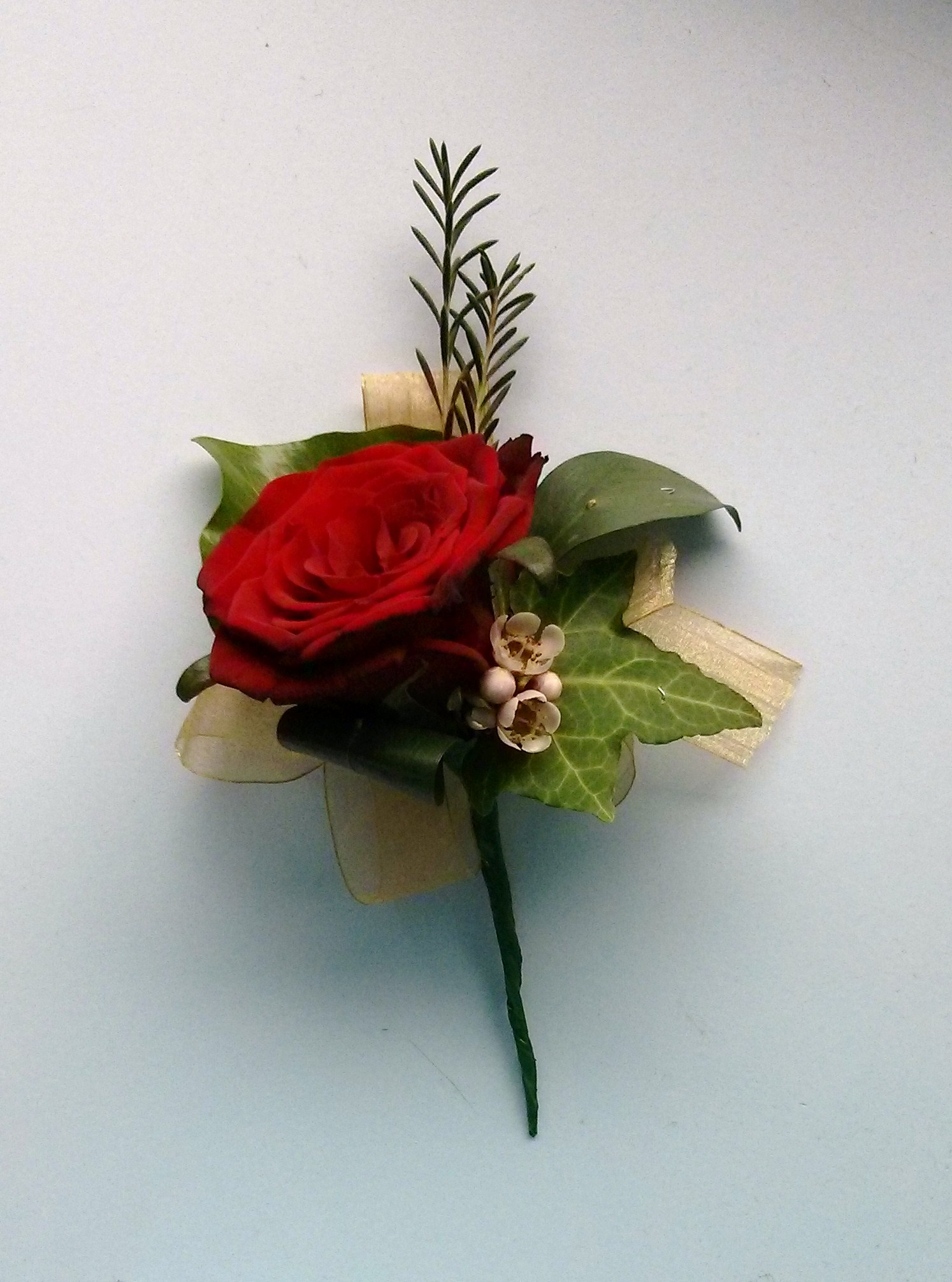 Red rose wired buttonhole