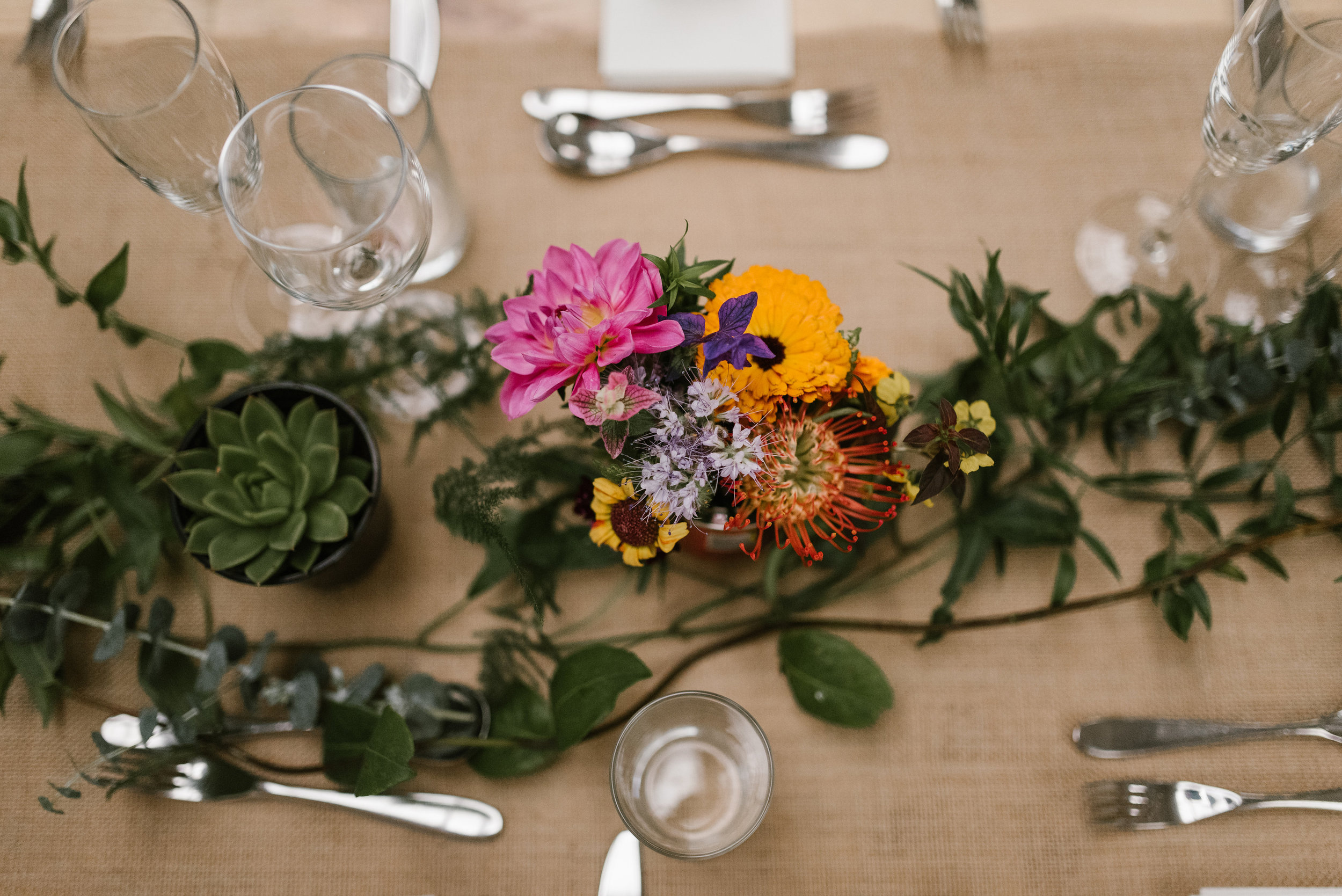 wildflower wedding succulent table runner