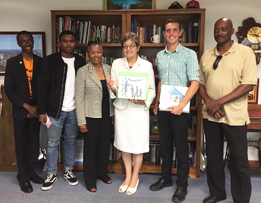 L-R Paul Thomas, Jr., Jr/Southview who just returned after being selected in a weeklong entrepreneurship training program for high school students; Co-founder Toure McCord; Laneta Goings; Congresswoman Kaptur; Jordan Topoleski, Sr, Sylvania Southview. He was one of 1250 at Boys Nation selected as one of two senators to represent Ohio. He was in DC for nine days and met elected officials; Paul Thomas, Sr. retired executive of the Carpenters Union.
