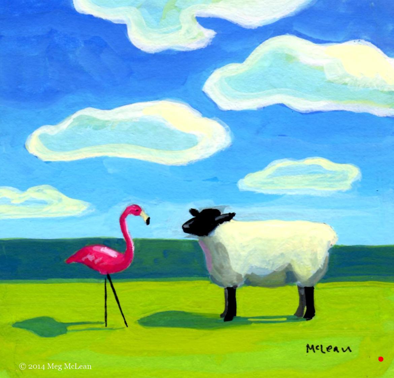 Meg McLean Pink Flamingo Sheep