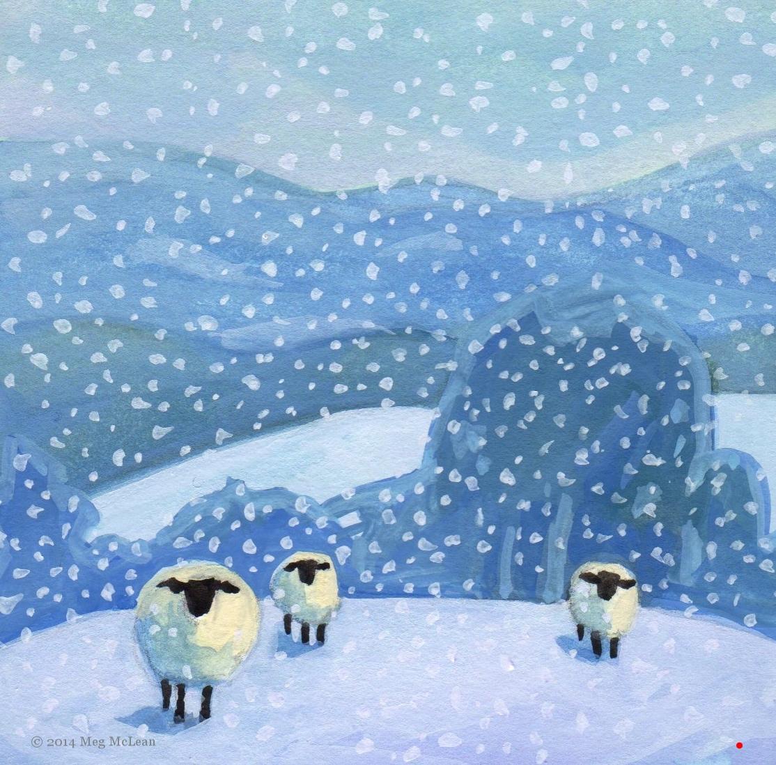 Meg McLean snow day sheep
