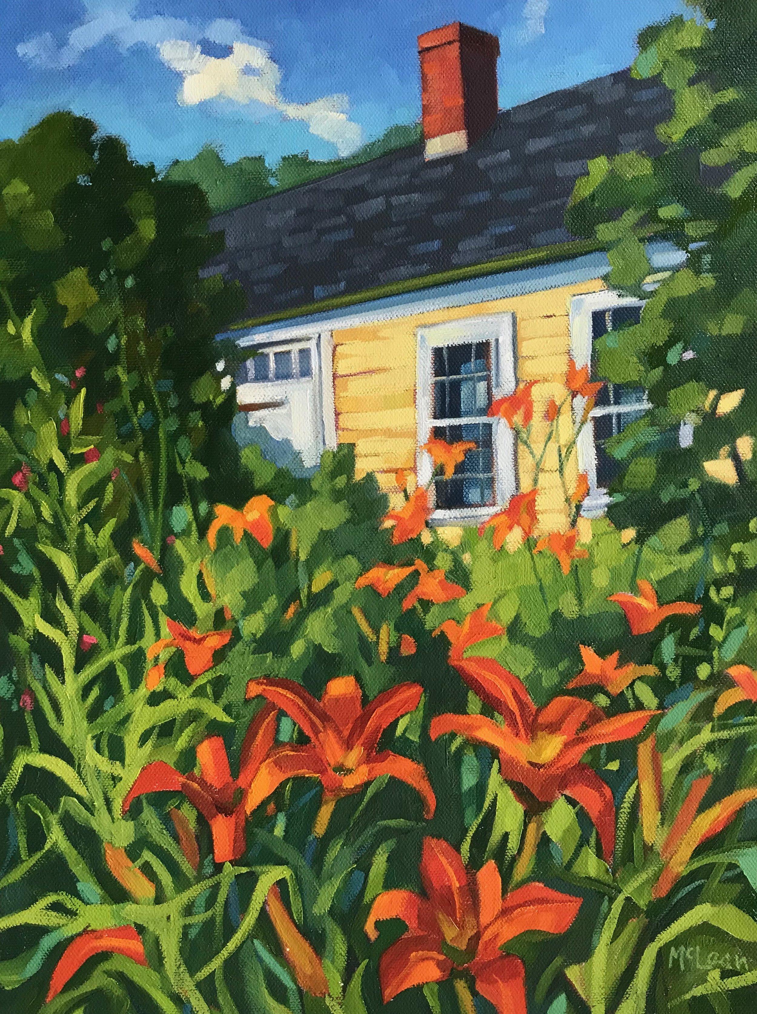 Yellow Clapboard, Orange Lilies