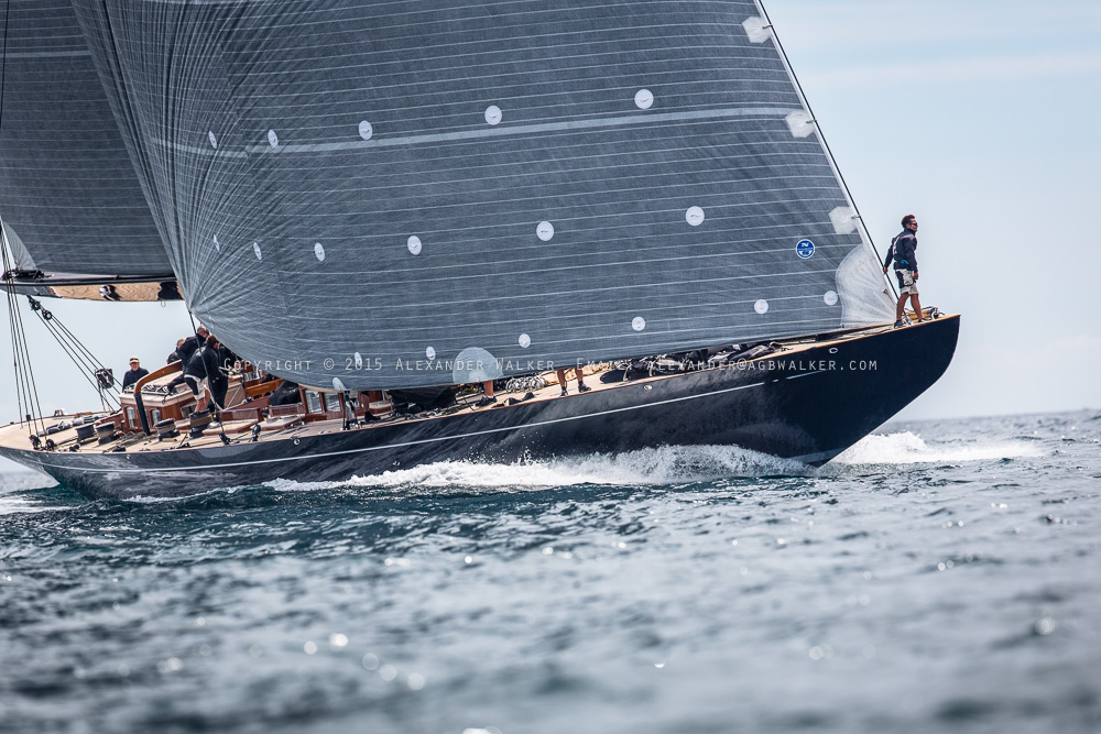 J Class Yacht Lionheart racing against Ranger and Velsheda in the 2015 Falmouth J Class Regatta