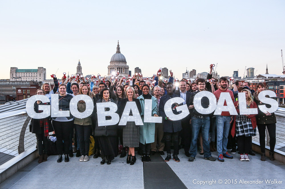 Naomie Harris, Bianca Jagger and Mariella Frostrup join thousands of people on the Millennium Bridge as part of action/2015, to mark the eve of the signing of the new Global Goals. They are calling on the UK government to commit to the landmark goals, to end poverty, inequality and tackle climate change.