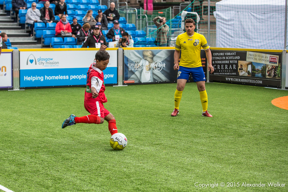 Cambodia Vs Sweden at the mens Globe Final at the Homeless World Cup. The Homeless World Cup is a unique, pioneering social movement which uses football to inspire homeless people to change their own lives. Homeless World Cup 2016 is taking place in Glasgow's George Square from July 10th to July 16th. For more information, visit www.homelessworldcup.com