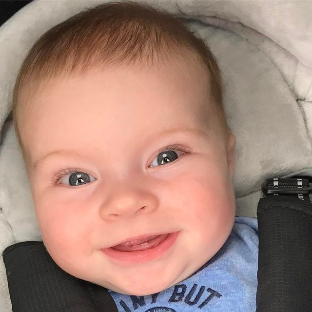 Parker is happy to show the first two pearly whites in his smile! #firsttooth #parkerb #smile #smileybaby #happybaby #happy #love #almost5months