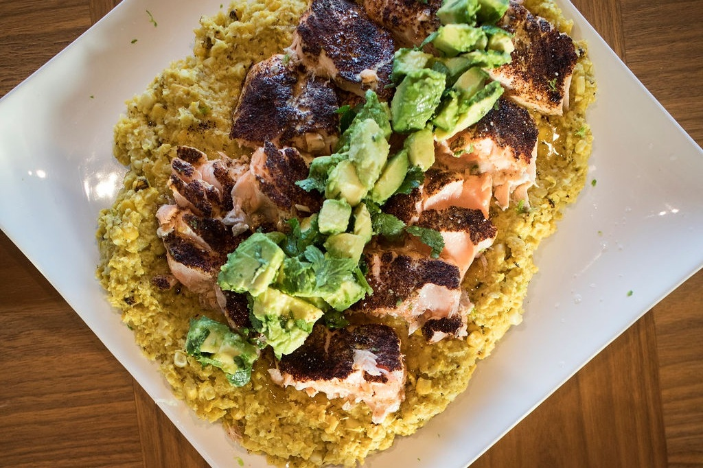 Chili Salmon w/ Creamed Corn & Avocado Cilantro Salad