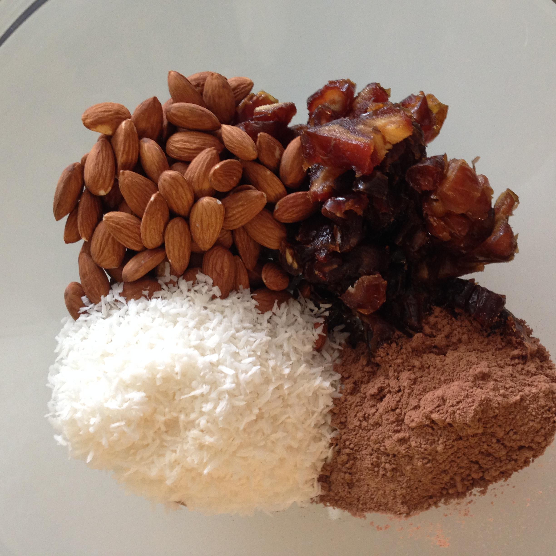 Almonds, dates, coconut, cocoa powder