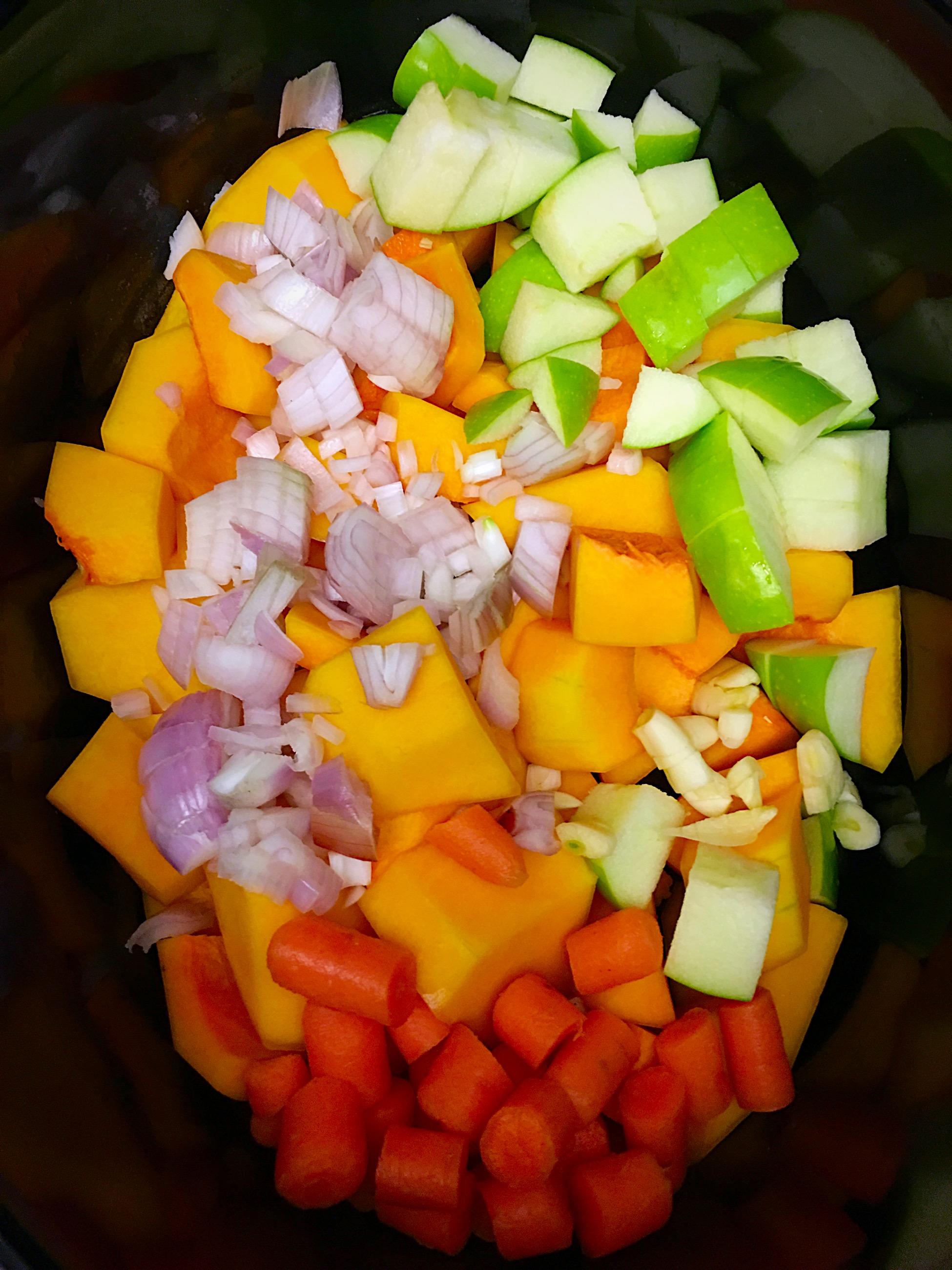 add your chopped veggies