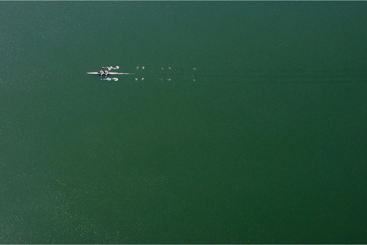 """Two stroke row boat"" - 80 cm x 120 cm"