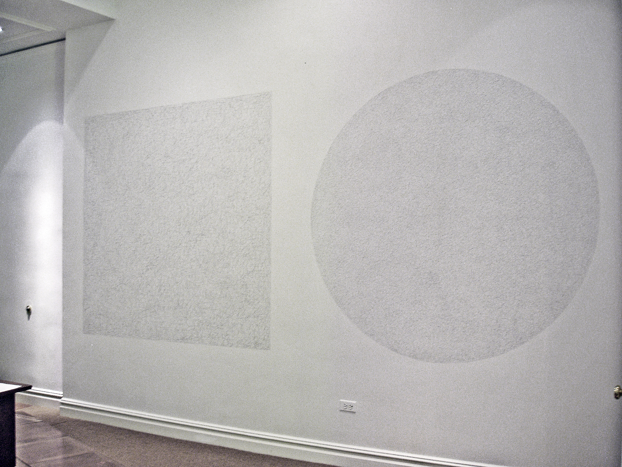 * Installation shot from the show at Bjorn Ressle Gallery in New York    Sol LeWitt WALL DRAWING #1024, 2002   Within a six by six feet square, 10,000 straight lines approximately six inches each drawn with pencil at random and within a six foot diameter circle, 10,000 not straight lines approximately six inches each drawn with pencil at random