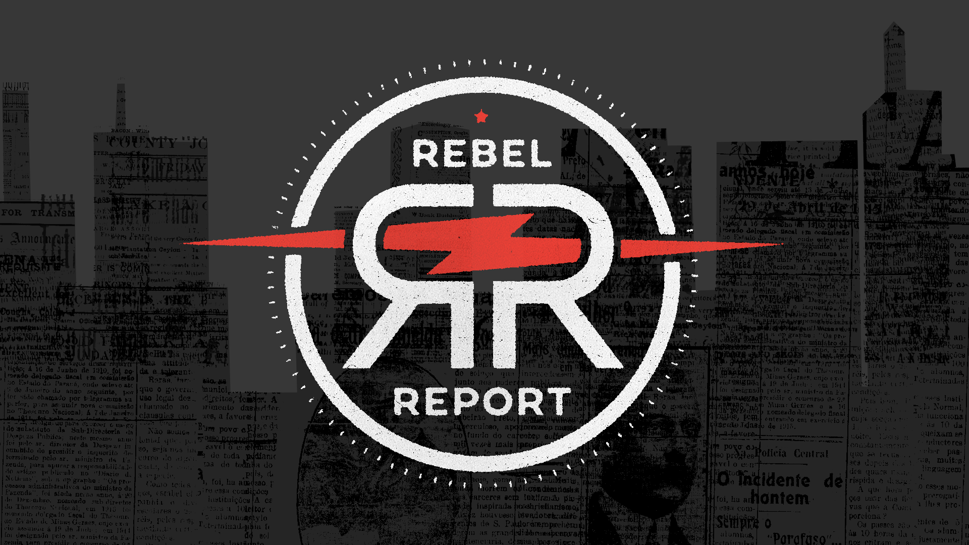 Rebel Report  On-screen graphics package for news-comedy web series. Package included show titles, green-screen graphics, and full-screen title cards. Main logo design by Brett Mikoll.