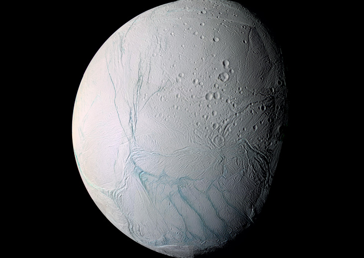 Fresh Tiger Stripes on Enceladus  Image Credit: Cassini Imaging Team, SSI, JPL, ESA, NASA |  Free of known copyright restrictions.