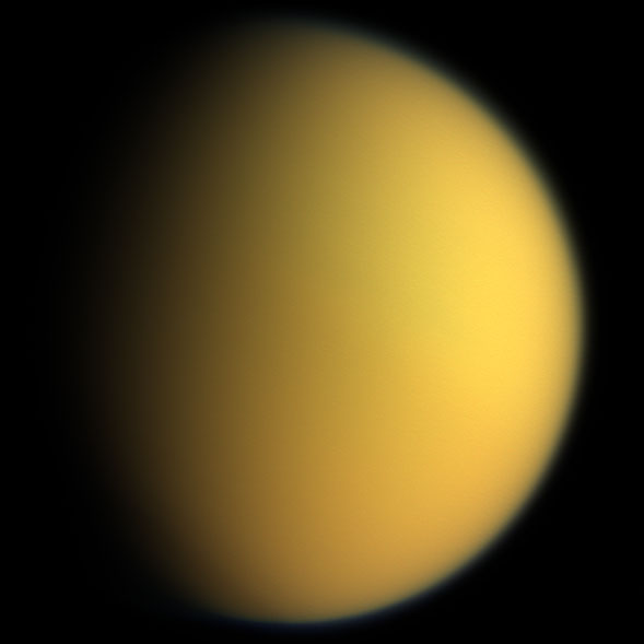 Titan in natural color Image Credit: NASA/JPL |  Free of known copyright restrictions.