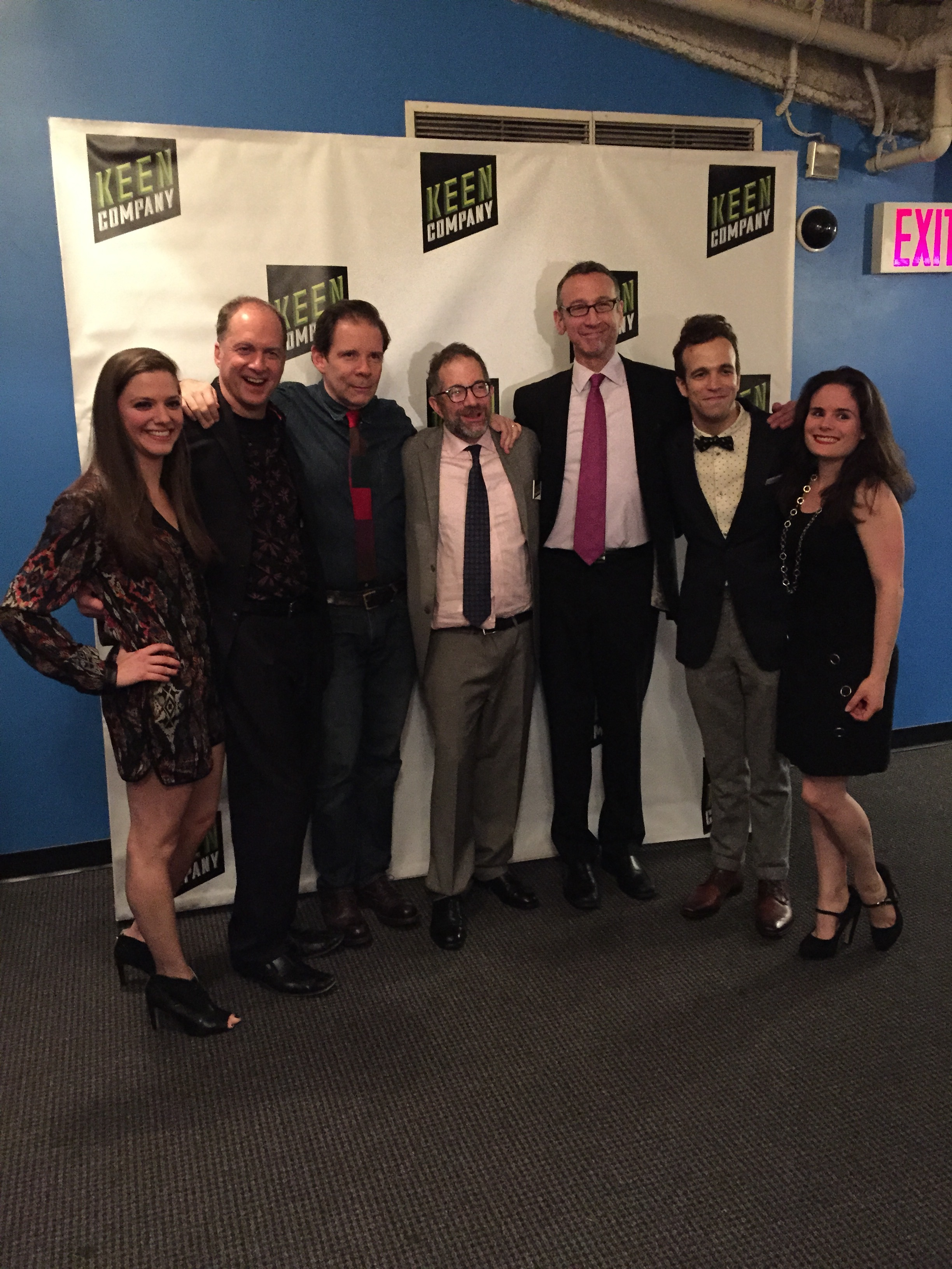 The cast, director, stage manager, and assistant stage manager at last night's opening night reception.