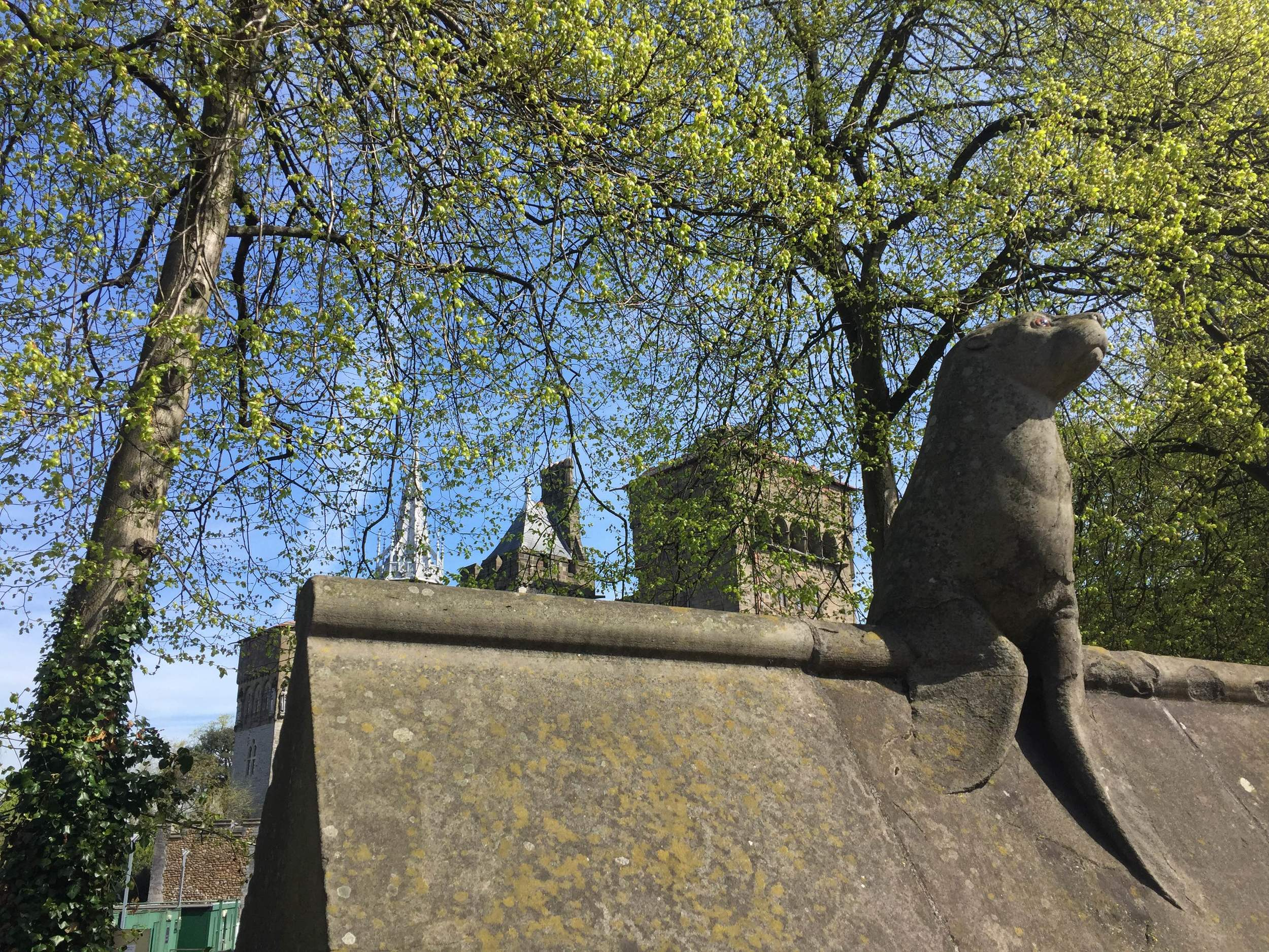 wall of animals at Cardiff castle