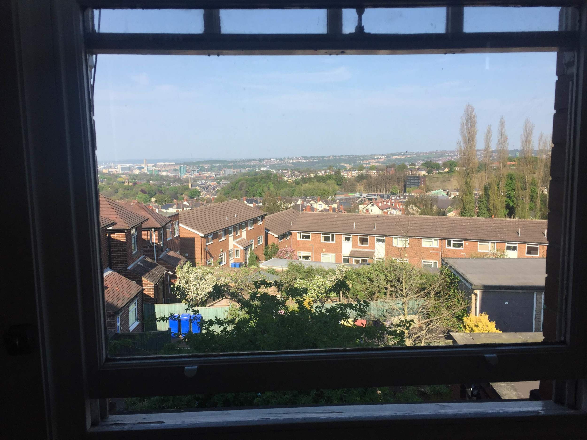 Green room view of Sheffield, UK