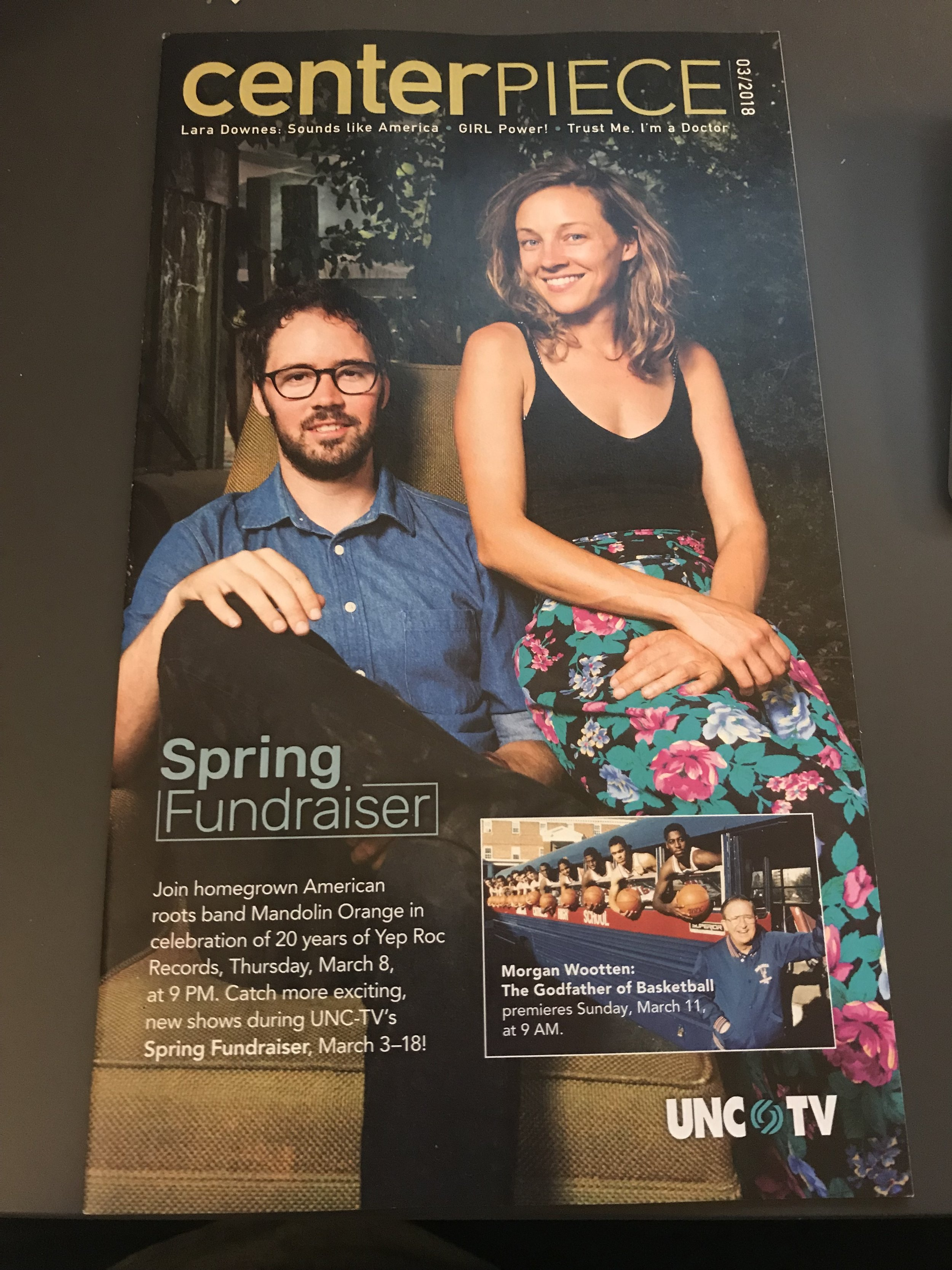 Our faces on the cover of UNC TV's Centerpiece magazine!