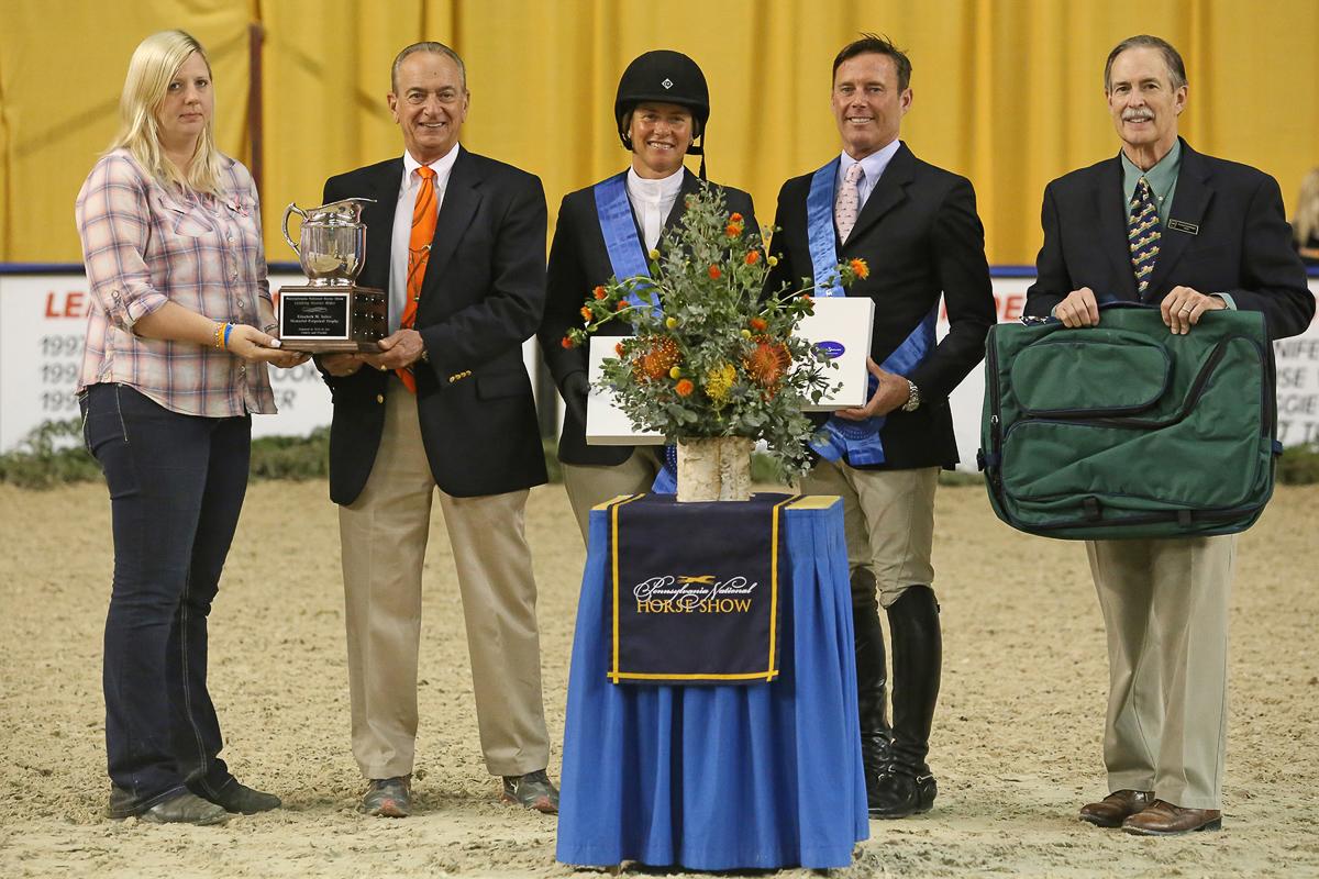 Jen Alfano receives the co-Leading Hunter Rider Award with Scott Stewart