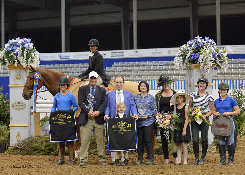 Miss Lucy and Jennifer Alfano win the $30,000 USHJA International Hunter Derby, presented by Valobra Master Jewelers, at the Pin Oak Charity Horse Show II.