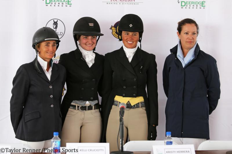 The top three riders, from left, Havens Schatt,Kelli Cruciotti, Kristy Herrera with Katie Jacobs-Robinson of Deeredge.
