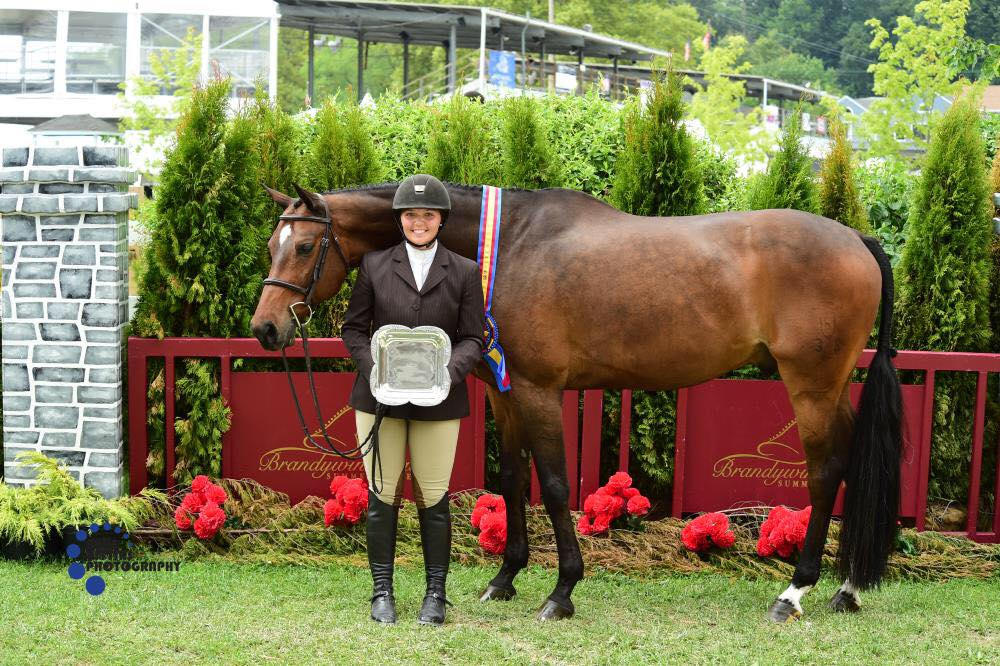 "Emma Walters and Crisp, Grand 3'3"" Junior Hunter Champions"